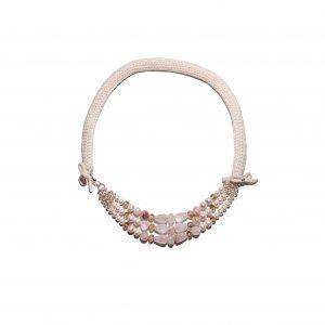 Dusty pink quartz single chain cashmere necklace