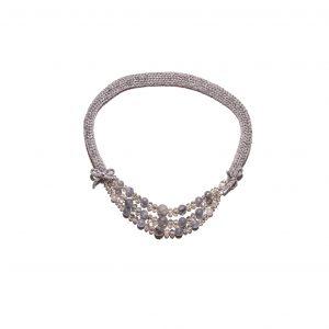 Grey quartz single chain cashmere necklace