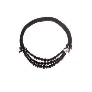 Onyx single chain cashmere necklace