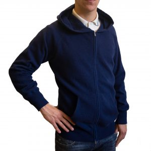 Blue hooded cashmere cardigan