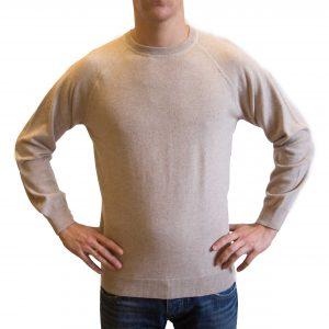 Beige crewneck cashmere sweater