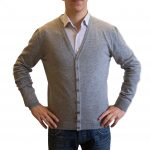 Light grey cashmere cardigan front