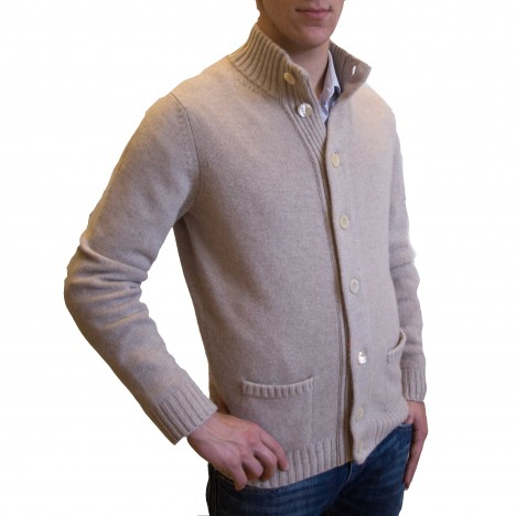 Funnel neck button up cashmere cardigan