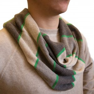 Multicolor beige/green striped ring cashmere scarf