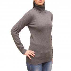 Light grey turtleneck cashmere sweater