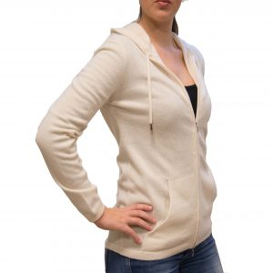 Natural hooded cashmere cardigan