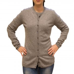 Light grey cashmere cardigan front