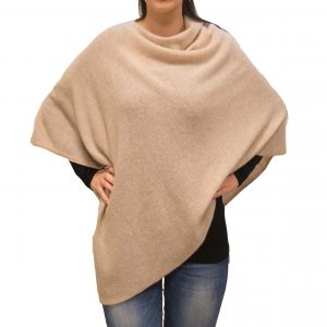 Beige cashmere poncho front