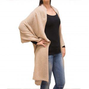 Beige long cashmere stole
