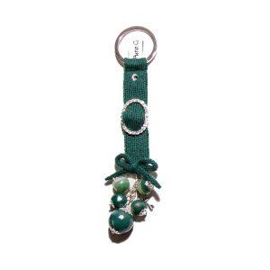 Green agate cashmere keychain