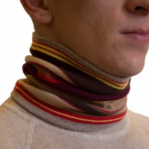 Multicolor beige striped collar cashmere scarf