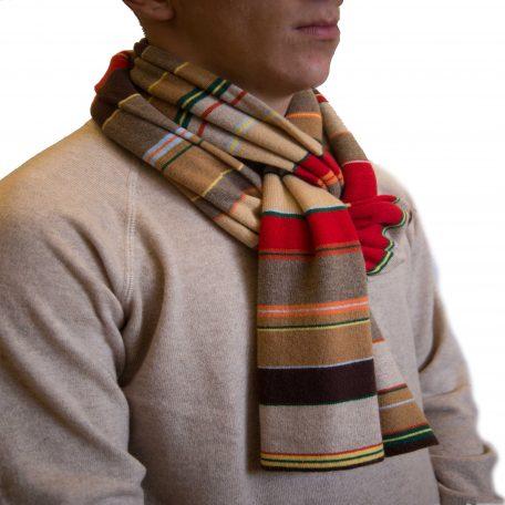 Multicolor red striped cashmere scarf