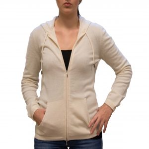 Natural hooded cashmere cardigan front