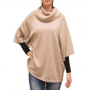 Beige cashmere cape front
