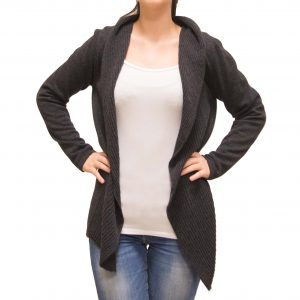 Anthracite cashmere jacket front