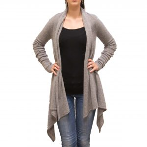 Light grey long cashmere cardigan front